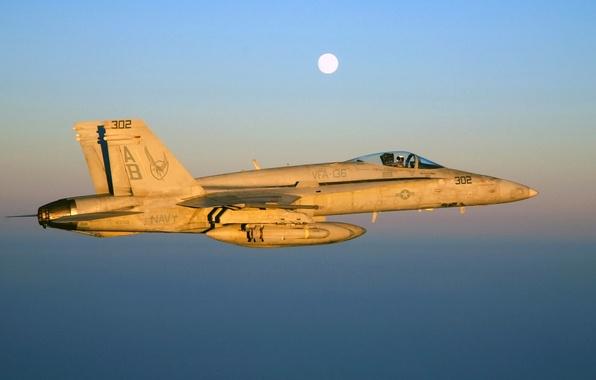 Картинка небо, полет, закат, самолет, луна, истребитель, пилот