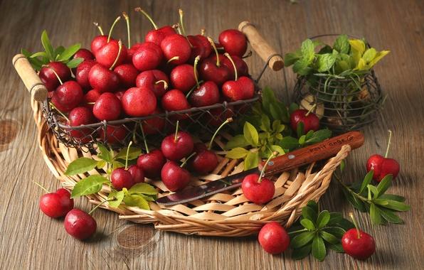 Картинка листья, ягоды, корзина, красные, мята, вишни