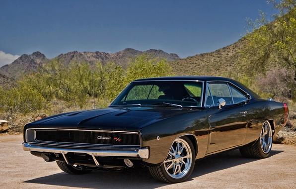 Картинка машина, авто, пейзаж, горы, природа, ретро, обои, wallpaper, додж, классика, cars, dodge, muscle car, power, …