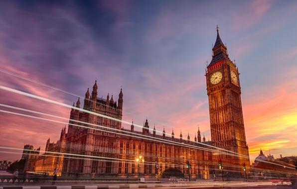 Картинка город, огни, часы, англия, лондон, вечер, выдержка, биг бен