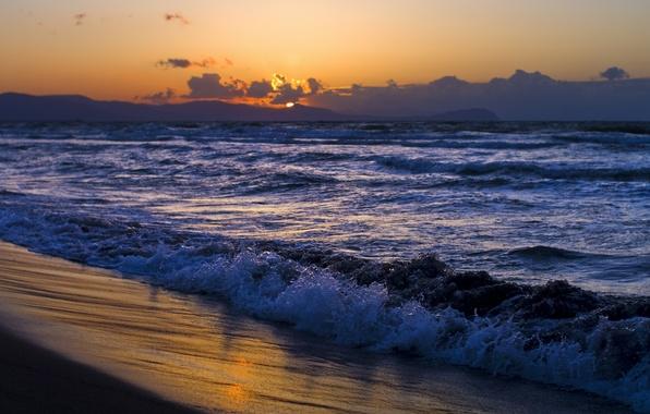 Картинка песок, море, волны, пляж, небо, вода, солнце, облака, пейзаж, закат, природа, берег, побережье, даль, вечер, ...