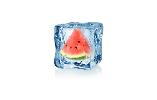 Картинка капли, абстракция, арбуз, воды, арт, ice, куб, water, льда, fruit, frozen, drops, watermelon, white background, …