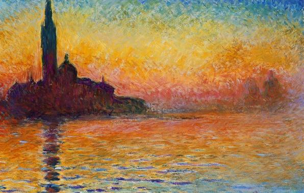Картинка море, небо, пейзаж, башня, картина, церковь, Венеция, Клод Моне