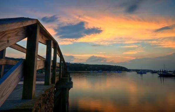 Картинка море, небо, вода, облака, деревья, мост, природа, фон, дерево, widescreen, обои, листва, доски, забор, корабли, ...