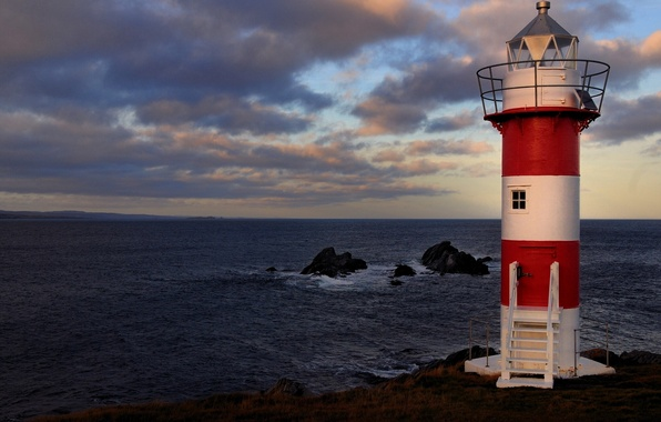 Картинка скалы, побережье, маяк, Канада, Canada, Атлантический океан, Atlantic Ocean, Newfoundland and Labrador, Ньюфаундленд и Лабрадор, …