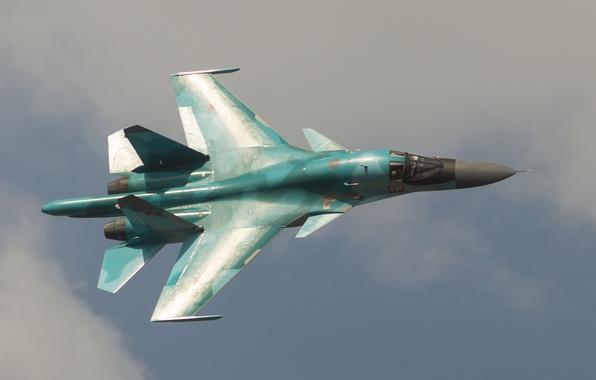 Картинка небо, полет, истребитель, бомбардировщик, Су-34