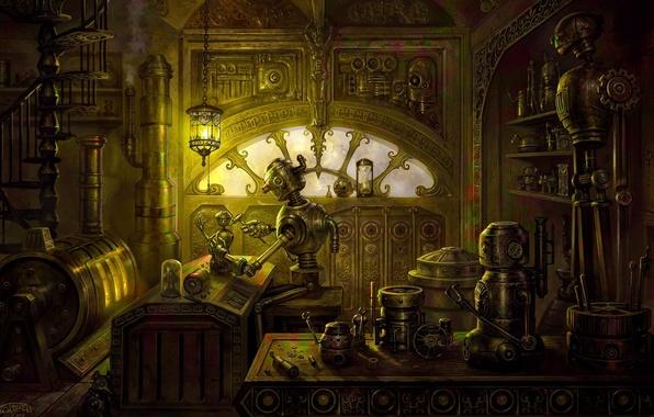Картинка стол, лампа, робот, печь, мастерская, станок, steampunk, запчасти