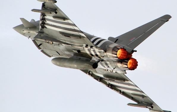 Картинка небо, полет, самолет, крылья, истребитель, Eurofighter Typhoon