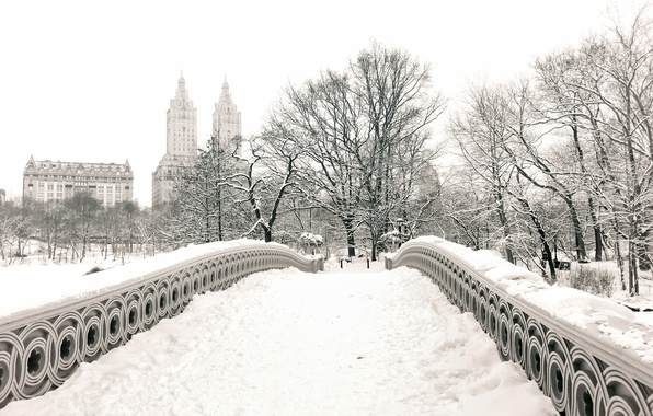 Картинка зима, снег, деревья, город, парк, здания, дома, Нью-Йорк, USA, США, Манхэттен, New York, Manhattan, NYC, …