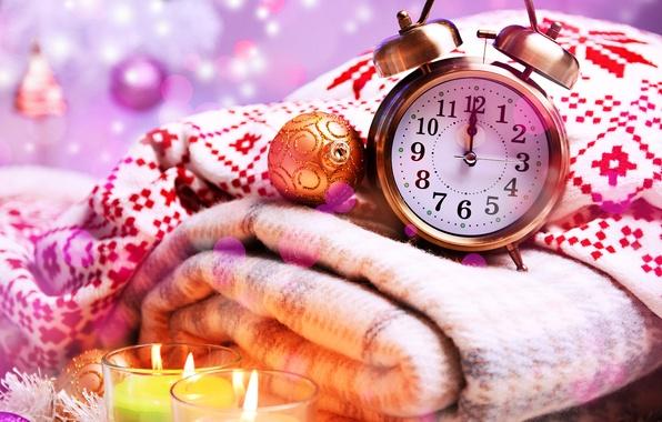 Картинка шарики, стрелки, игрушки, часы, свечи, Новый Год, будильник, Рождество, цифры, плед, Christmas, праздники, боке, New …