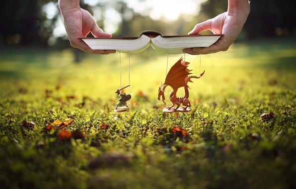 Картинка трава, газон, дракон, руки, книга, рыцарь, нитки