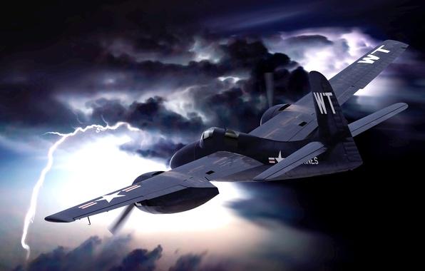 Картинка небо, ночь, тучи, молния, рисунок, арт, самолёт, отблески