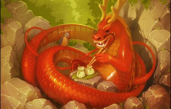Картинка лес, фантазия, птица, дракон, арт, китайский дракон