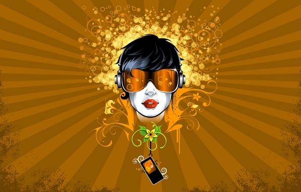 Картинка девушка, круги, цветы, абстракция, стиль, узоры, vector, рисунок, вектор, точки, очки, плеер, линий, girl, style, …