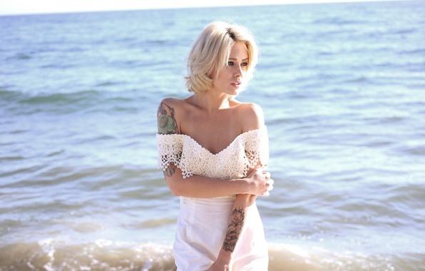 Картинка девушка, платье, тату, блондинка, татуировки, alysha nett