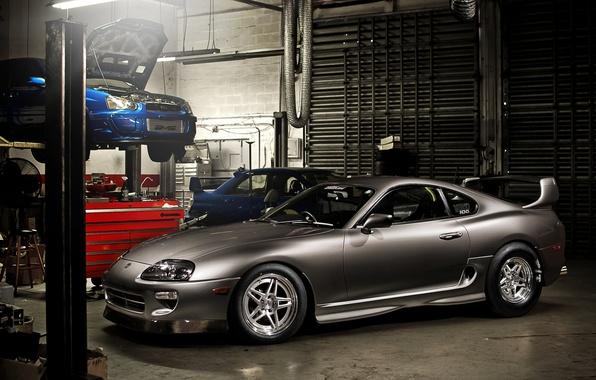 Картинка синий, серый, тюнинг, гараж, Subaru, Impreza, WRX, спорткар, STI, tuning, передок, субару, импреза, Toyota Supra, …