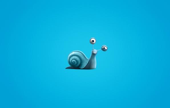 Картинка улитка, минимализм, синий фон, Turbo, Турбо, snail