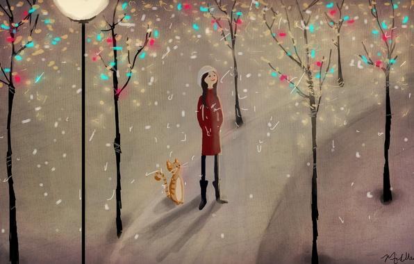 Картинка зима, кот, снег, деревья, парк, рисунок, девочка, фонарь, тропинка, иллюстрация