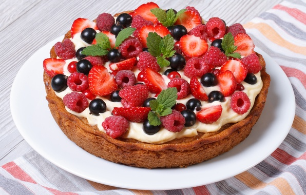 Картинка ягоды, малина, клубника, пирог, торт, cake, крем, десерт, смородина, выпечка, сладкое, sweet, dessert, berries