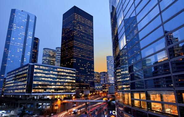 Картинка свет, машины, ночь, мост, город, огни, Франция, Париж, окна, здания, дороги, небоскребы, Paris, France, La …
