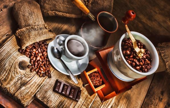 Картинка кофе, шоколад, ложка, кружка, напиток, кофейные зёрна, блюдце, мешочек, турка, кофемолка