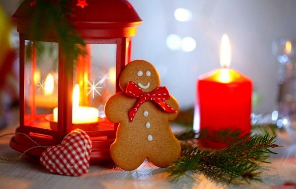 Картинка праздник, сердце, свечи, печенье, Рождество, фонарь, Новый год, Happy New Year, heart, Merry Christmas, holiday, …