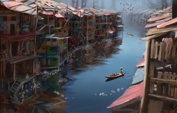 Картинка птицы, река, люди, лодка, дома, шляпа, арт, канал, постройки, лачуги, трущобы