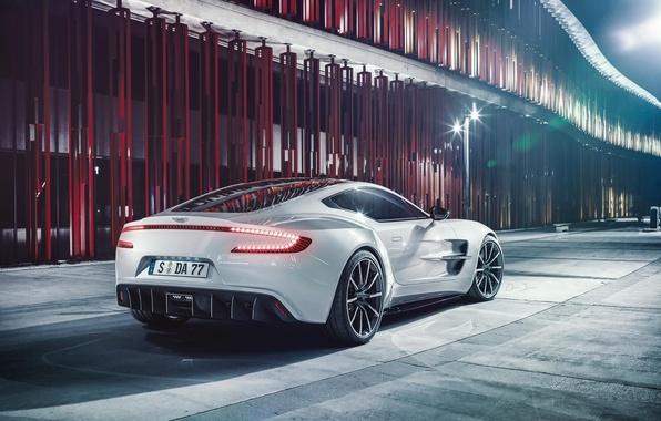 Картинка Aston Martin, White, Supercar, Wheels, Rear, Ligth, ONE-77