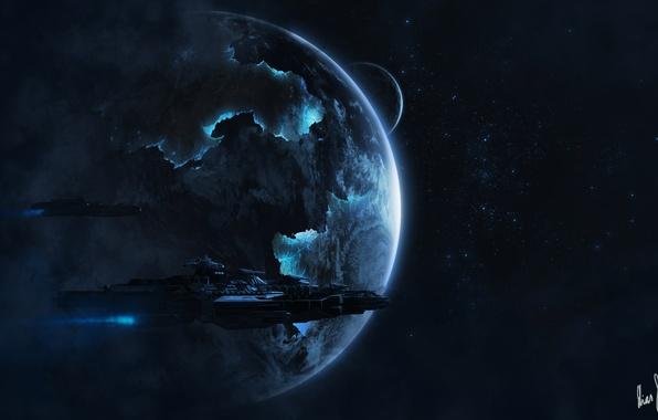 Картинка космос, звезды, планета, корабли, арт, космические