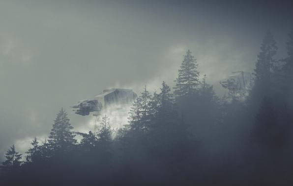 Картинка туман, роботы, Star Wars, Звездные Войны