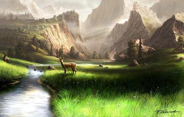 Картинка трава, горы, река, камни, арт, рога, олени, Fel-X, марал