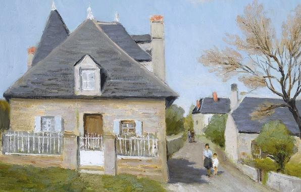 Картинка люди, улица, дома, картина, городской пейзаж, Марсель Диф, Утренняя прогулка