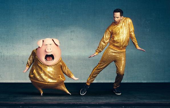 Картинка music, cinema, yellow, man, movie, film, animated film, pig, animated movie, Sing