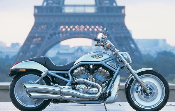 Фото обои Мотоцикл, Париж, Harley Davidson, Пейзаж