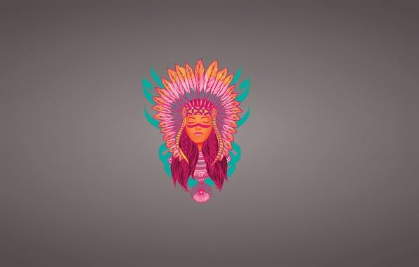 Картинка девушка, лицо, минимализм, перья, индеец, indian, ловец снов, индианка