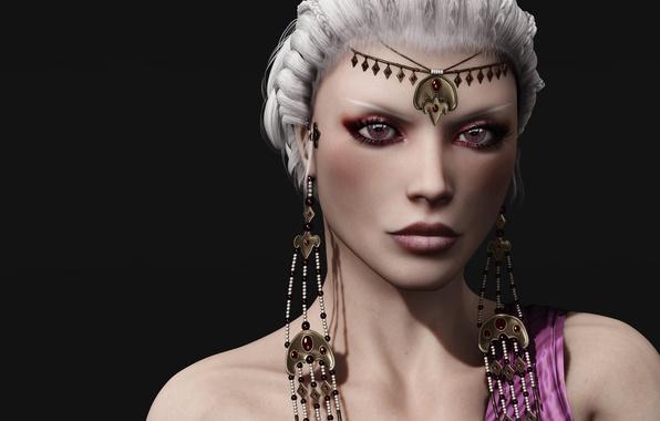 Картинка девушка, рендеринг, Daenerys Targaryen, белые волосы. украшения. взгляд