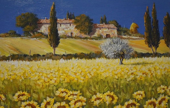 Картинка поле, небо, деревья, пейзаж, цветы, дом, подсолнух, картина, Италия, Тоскана
