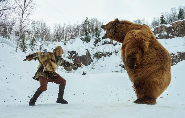 Фото обои медведь, Бьёрн, Alexander Ludwig, зима, поединок, Викинги, Vikings