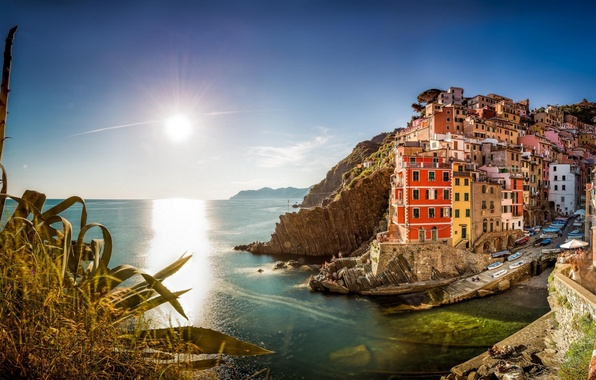 Картинка море, здания, Италия, панорама, Italy, Лигурийское море, Riomaggiore, Риомаджоре, Cinque Terre, Чинкве-Терре, Лигурия, Liguria, Ligurian ...