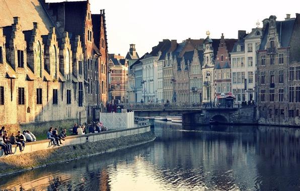 Картинка вода, мост, город, отражение, окна, здания, дома, канал, бельгия, гент