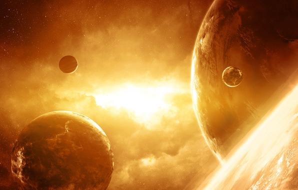 Картинка сияние, планеты, звёзды, Космос, арт, QAuZ