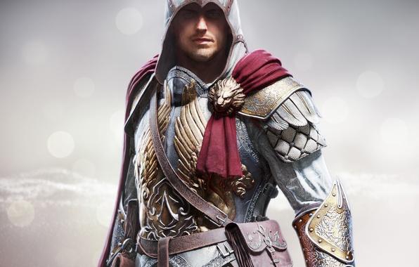Картинка взгляд, сталь, капюшон, броня, сумка, плащ, щетина, убийца, Ubisoft, Berserker, Assassins Creed: Identity