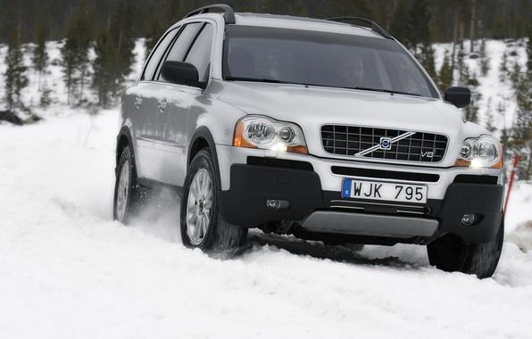 Картинка зима, снег, Volvo