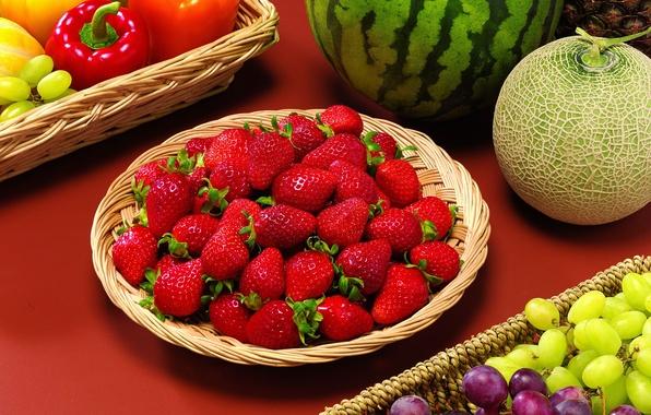 Картинка ягоды, арбуз, клубника, виноград, фрукты, натюрморт, овощи, дыня, паприка