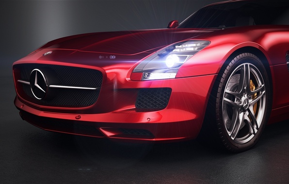 Картинка красный, Mercedes-Benz, фара, перед, red, Photoshop, бампер, SLS, front, мерседес бенц, Vray, AMG Studio, by …