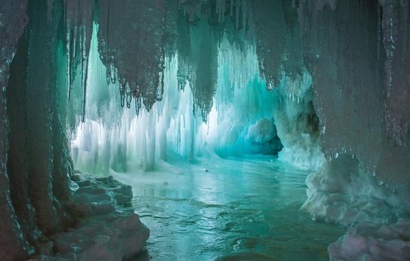 Картинка вода, озеро, лёд, light, пещера, water, lake, грот, Ice, cave, сталагмиты, сталактиты, Emi, stalagmites, stalactites