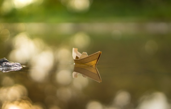 Картинка море, вода, бумага, фон, кораблик