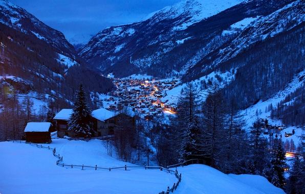 Картинка зима, свет, снег, пейзаж, горы, природа, холмы, дома, вечер, Швейцария, Альпы, домики, Switzerland, Alpes, шале, …