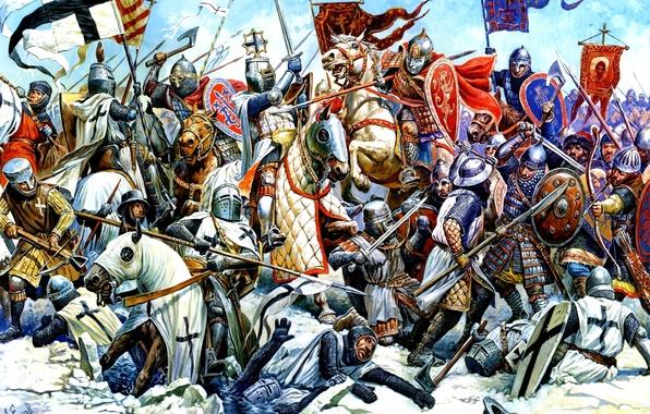 Картинка вода, рисунок, лёд, доспехи, лошади, мечи, рыцари, щиты, топоры, немцы, копья, знамёна, дружинники, кнехты, 5 …