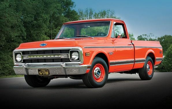Картинка фон, Chevrolet, Шевроле, пикап, 1970, передок, Pickup, C10, Fleetside